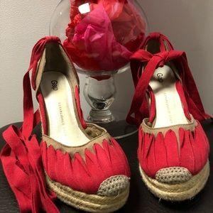 Gap Red & Tan Wedge Sandal